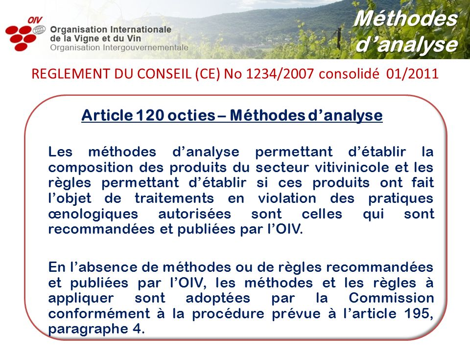 Article 120 octies – Méthodes d'analyse