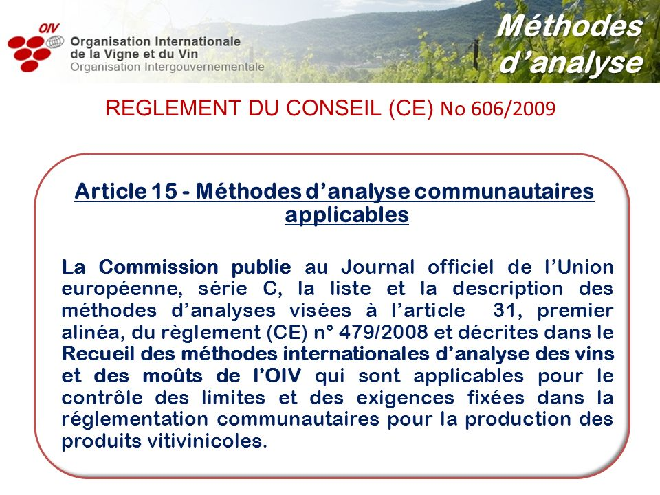 Article 15 - Méthodes d'analyse communautaires applicables