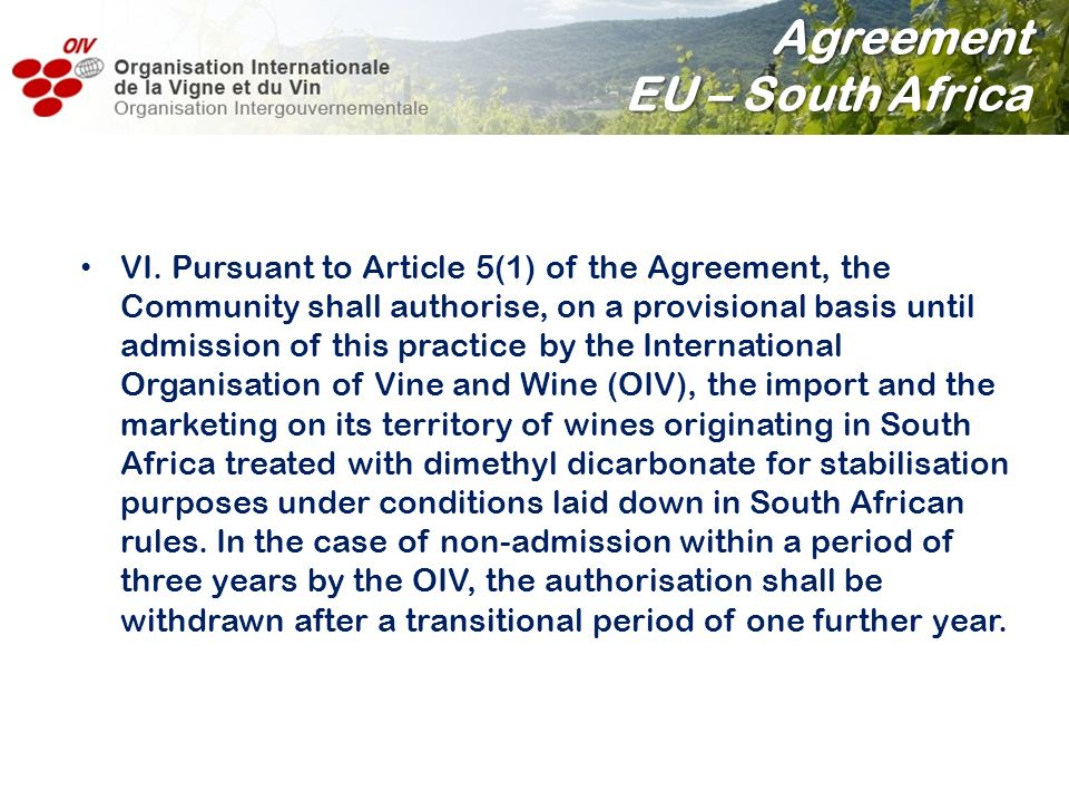 Agreement EU – South Africa