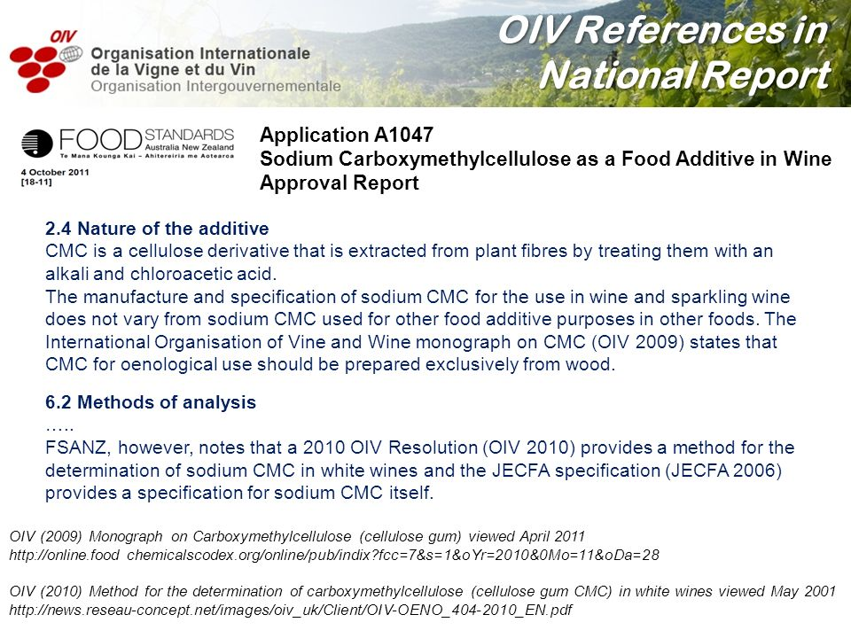 OIV References in National Report