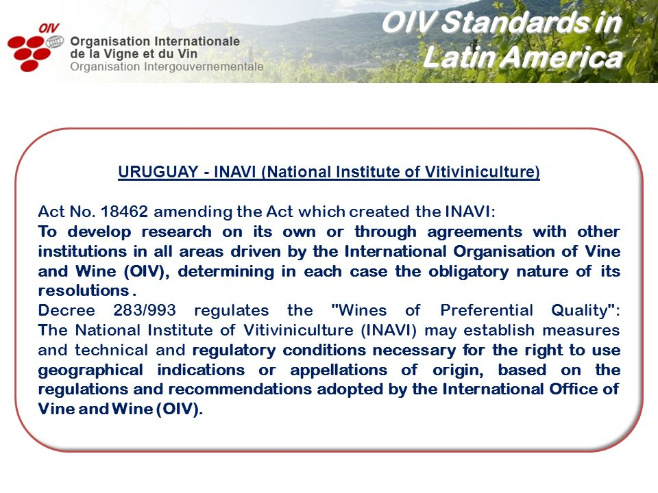 URUGUAY - INAVI (National Institute of Vitiviniculture)