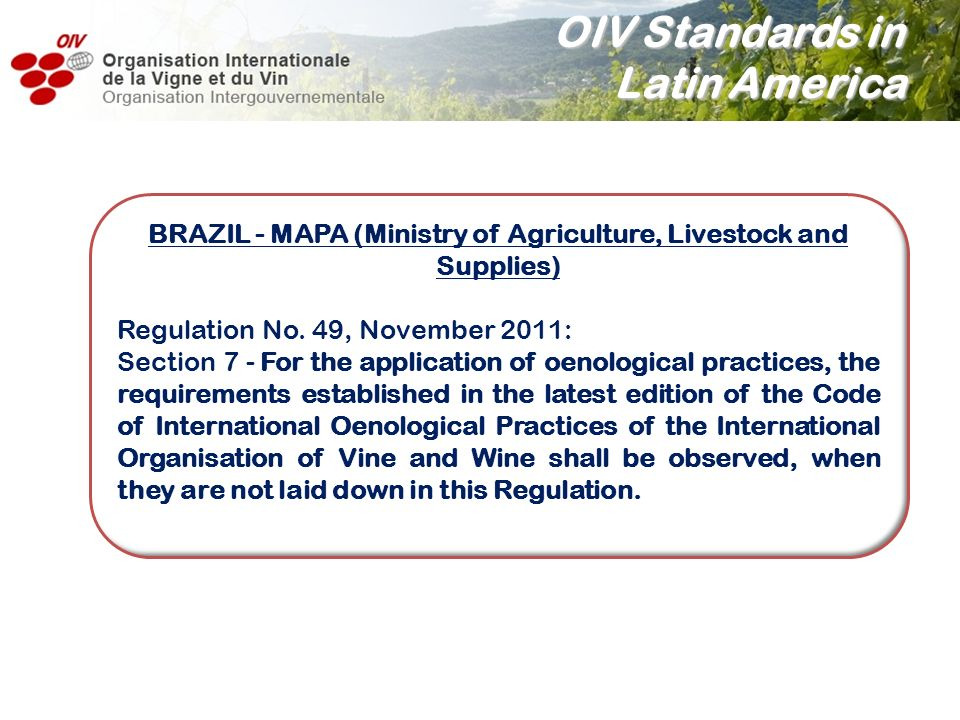 BRAZIL - MAPA (Ministry of Agriculture, Livestock and Supplies)