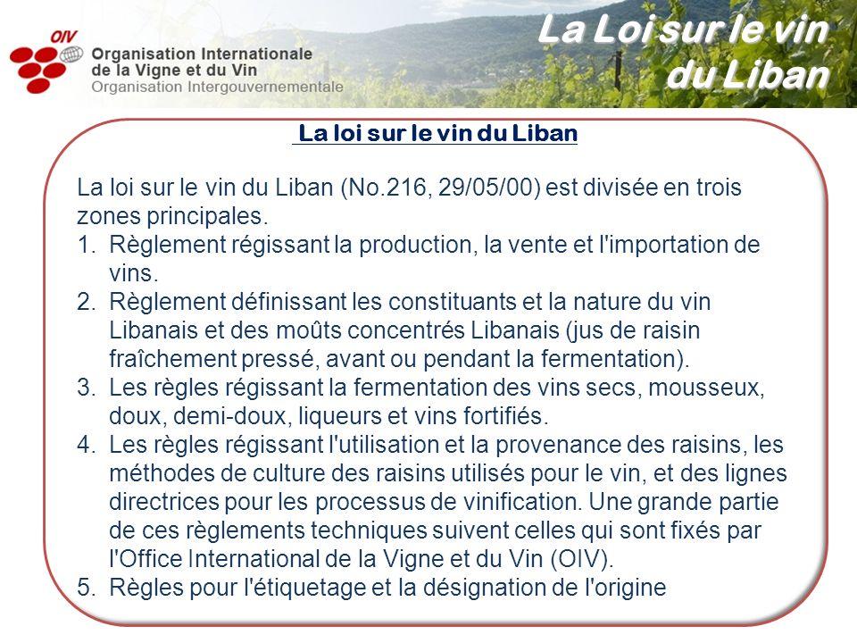 La loi sur le vin du Liban