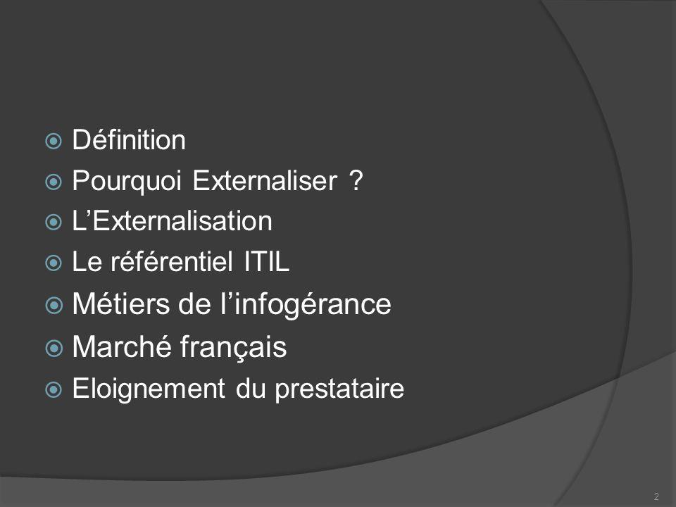 Métiers de l'infogérance Marché français
