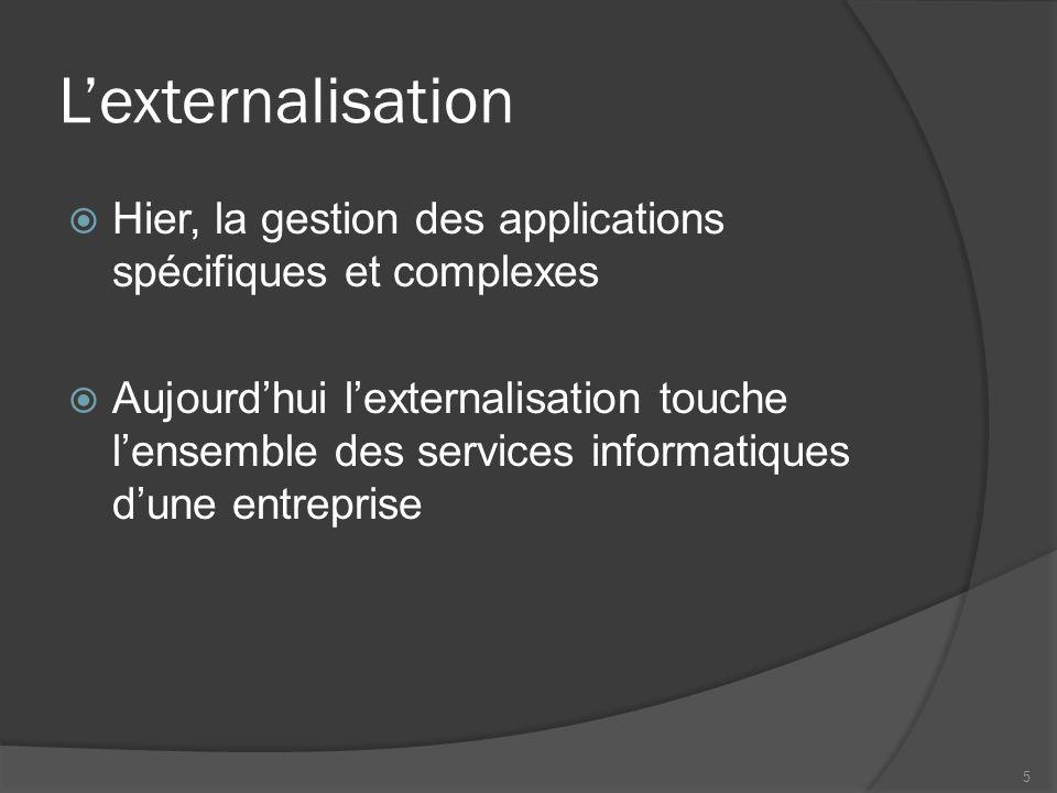 L'externalisation Hier, la gestion des applications spécifiques et complexes.