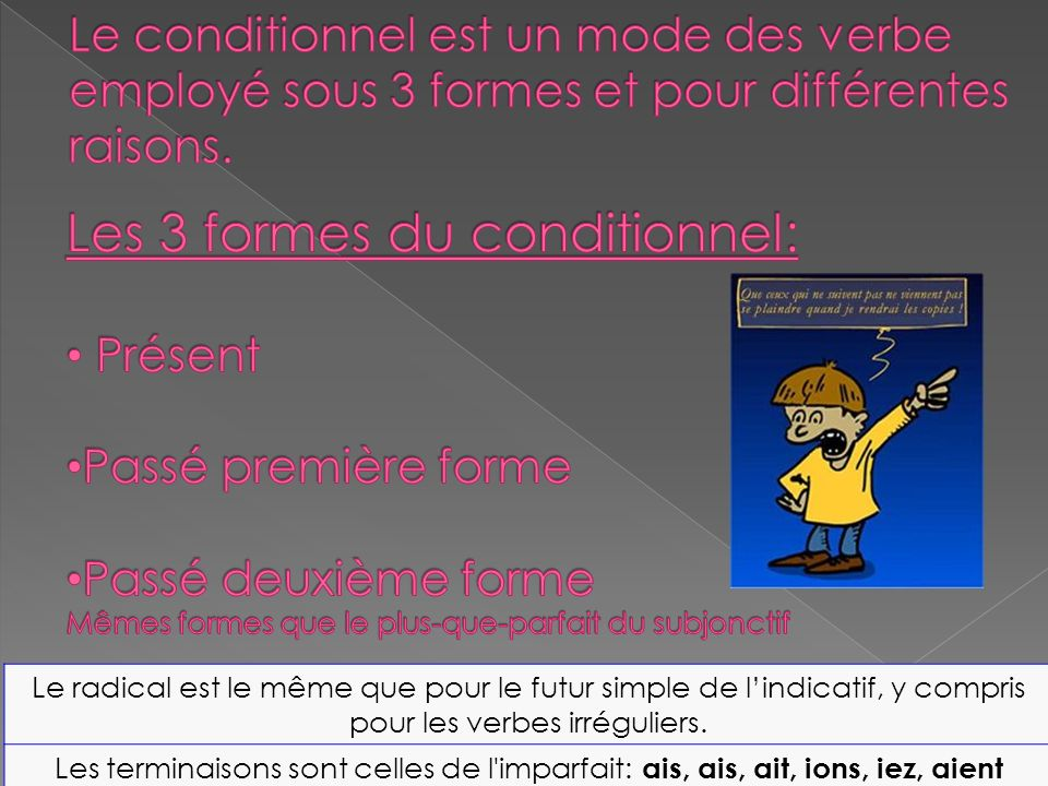 Les 3 formes du conditionnel: