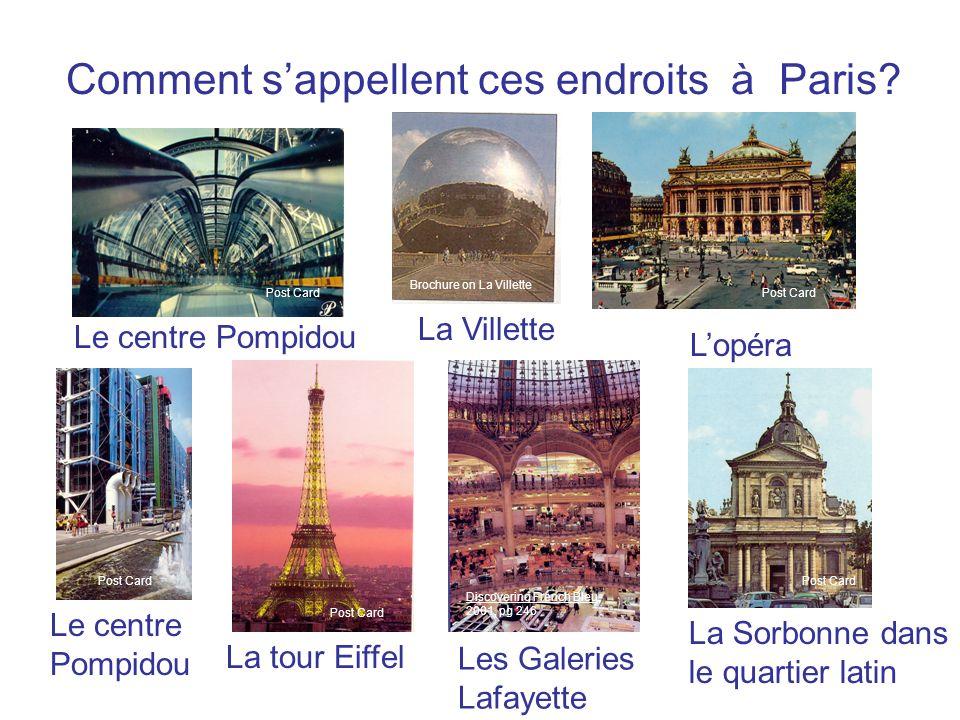 Comment s'appellent ces endroits à Paris