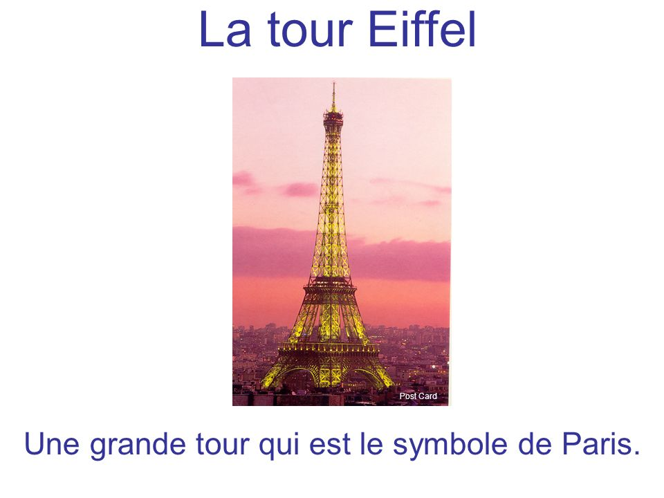 La tour Eiffel Post Card Une grande tour qui est le symbole de Paris.