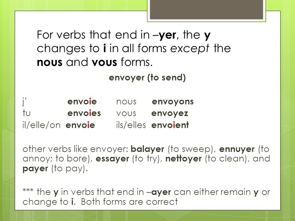 For verbs that end in –yer, the y changes to i in all forms except the nous and vous forms.