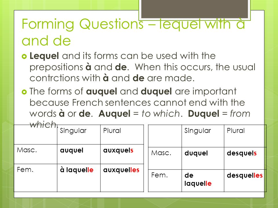 Forming Questions – lequel with à and de