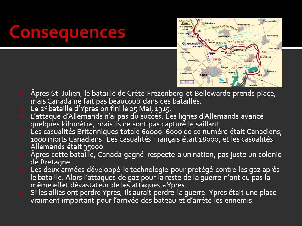Consequences Âpres St. Julien, le bataille de Crète Frezenberg et Bellewarde prends place, mais Canada ne fait pas beaucoup dans ces batailles.