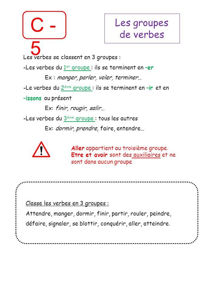 C - 5 Les groupes de verbes Les verbes se classent en 3 groupes :