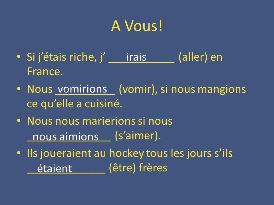 A Vous! Si j'étais riche, j' ___________ (aller) en France.