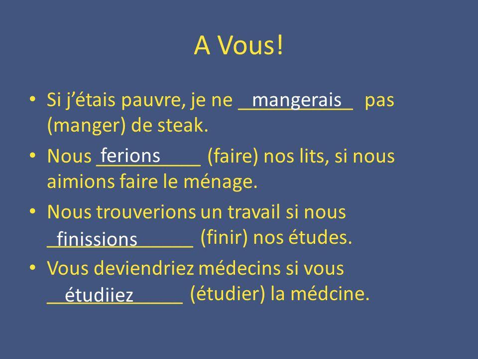 A Vous! Si j'étais pauvre, je ne ___________ pas (manger) de steak.