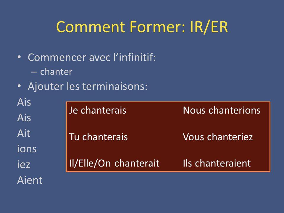 Comment Former: IR/ER Commencer avec l'infinitif: