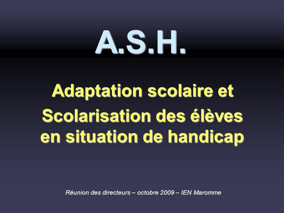 A.S.H. Adaptation scolaire et