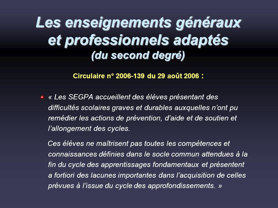 Les enseignements généraux et professionnels adaptés (du second degré)