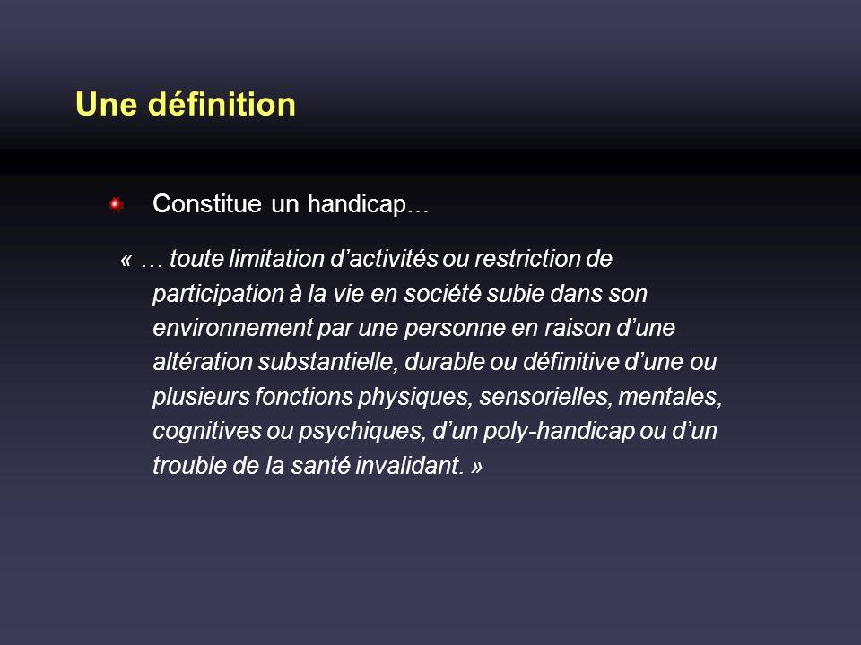 Une définition Constitue un handicap…