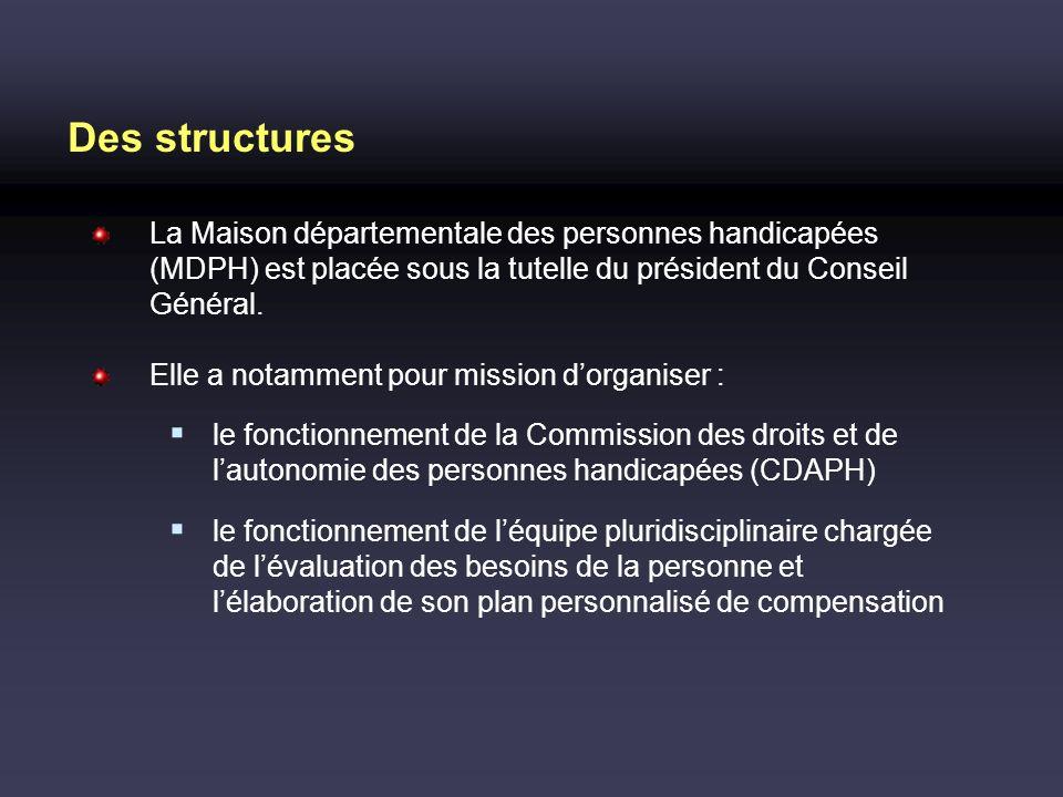 Des structures La Maison départementale des personnes handicapées (MDPH) est placée sous la tutelle du président du Conseil Général.
