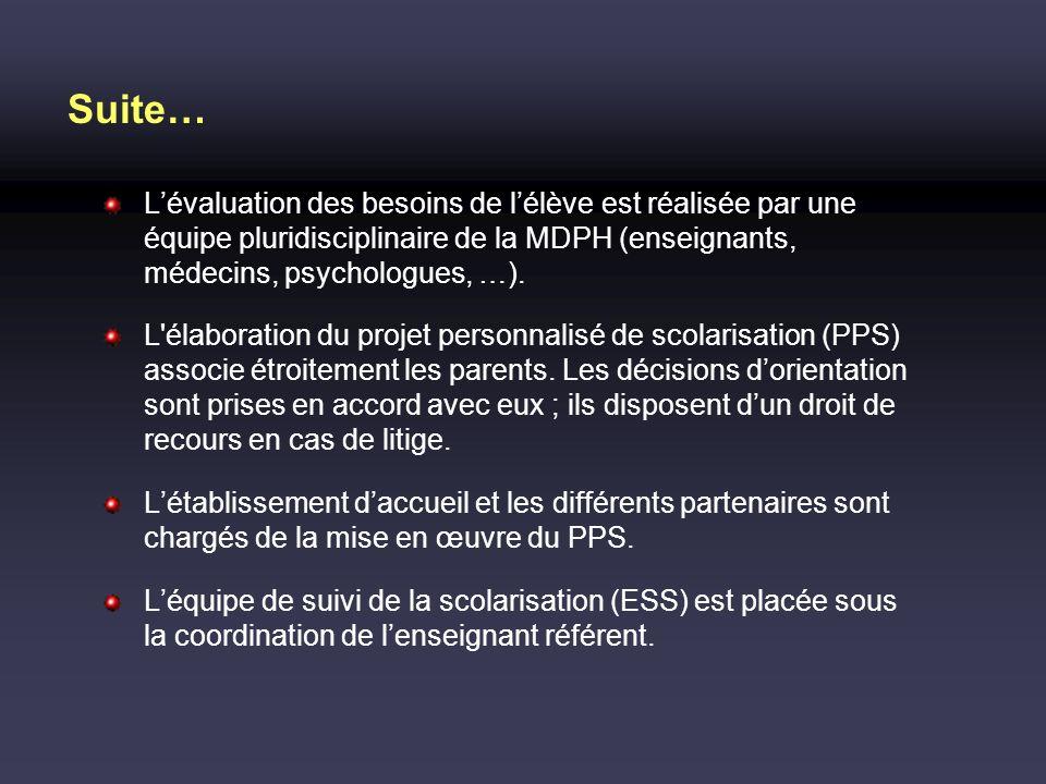 Suite… L'évaluation des besoins de l'élève est réalisée par une équipe pluridisciplinaire de la MDPH (enseignants, médecins, psychologues, …).