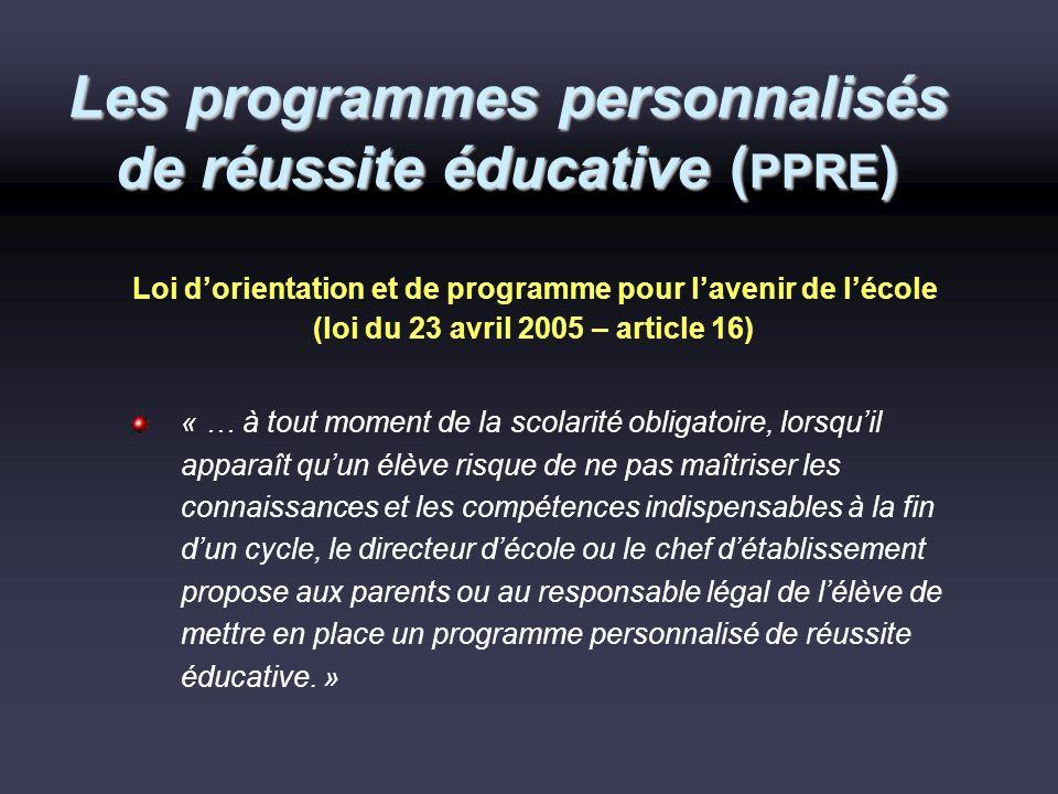 Les programmes personnalisés de réussite éducative (PPRE)