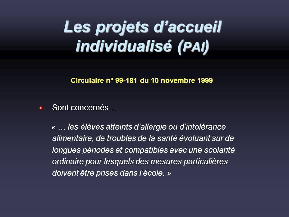 Les projets d'accueil individualisé (PAI)