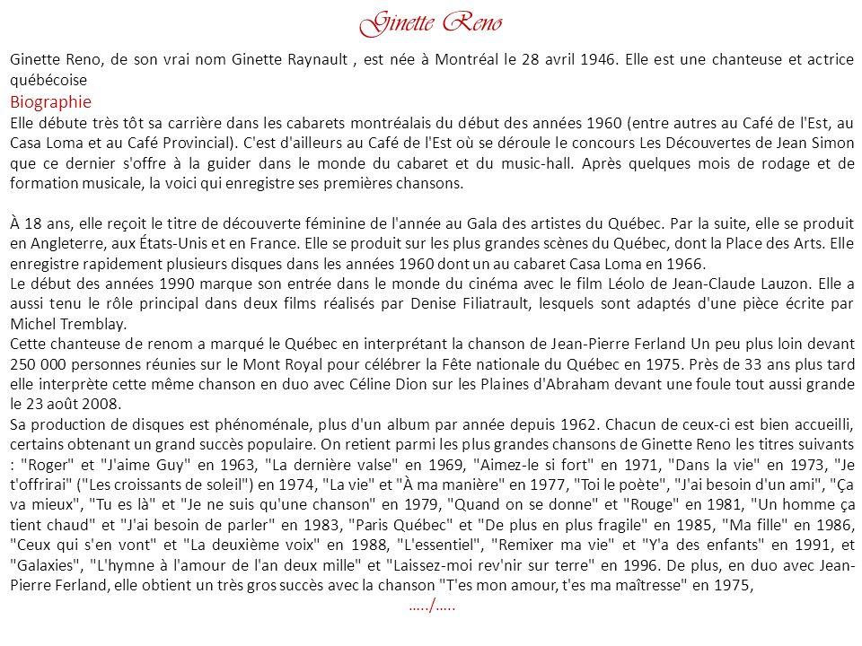 Ginette Reno Biographie