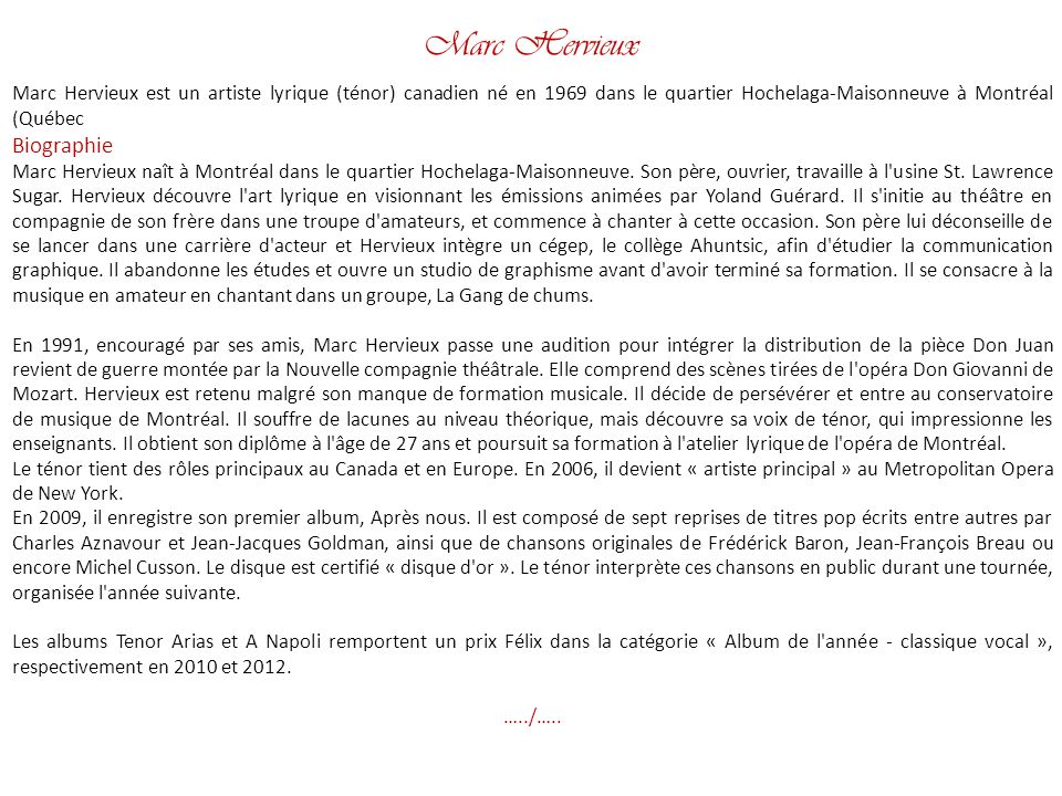 Marc Hervieux Biographie