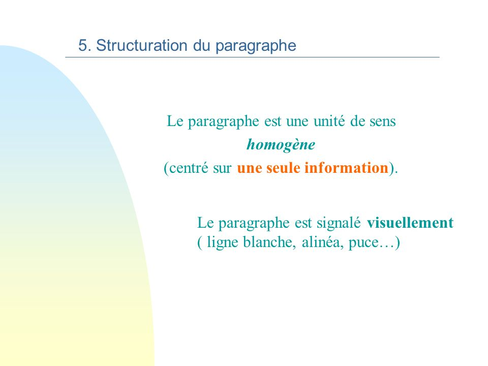 5. Structuration du paragraphe