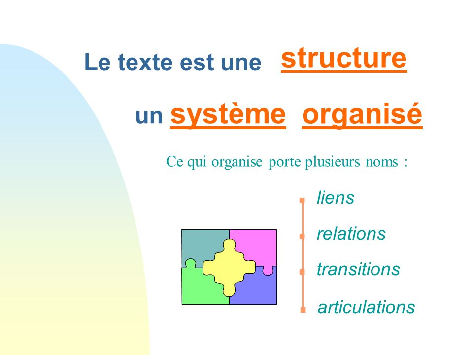 structure organisé Le texte est une un système liens relations