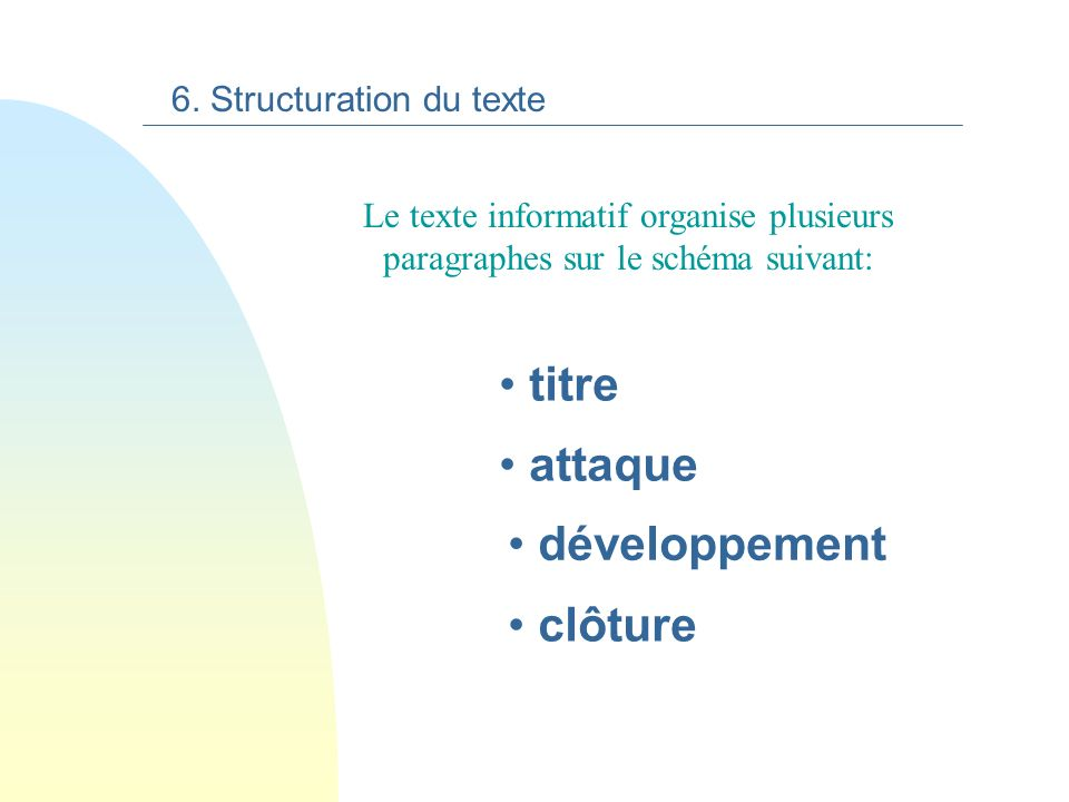 titre attaque développement clôture 6. Structuration du texte