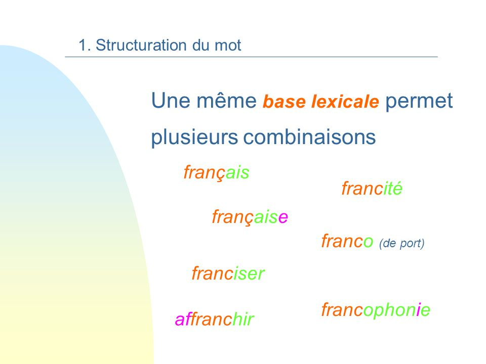 Une même base lexicale permet plusieurs combinaisons