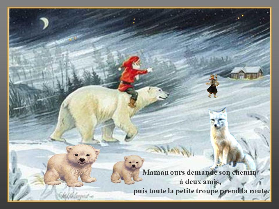 Maman ours demande son chemin à deux amis,