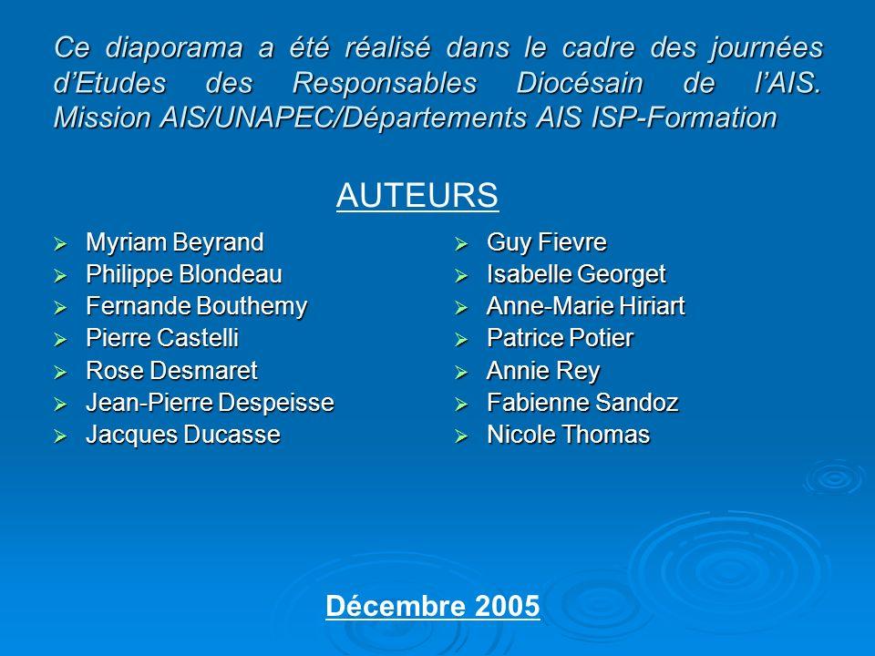 Ce diaporama a été réalisé dans le cadre des journées d'Etudes des Responsables Diocésain de l'AIS. Mission AIS/UNAPEC/Départements AIS ISP-Formation