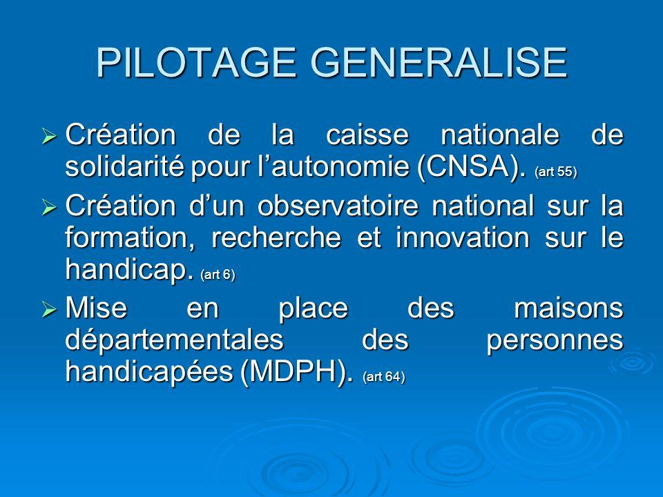 PILOTAGE GENERALISE Création de la caisse nationale de solidarité pour l'autonomie (CNSA). (art 55)