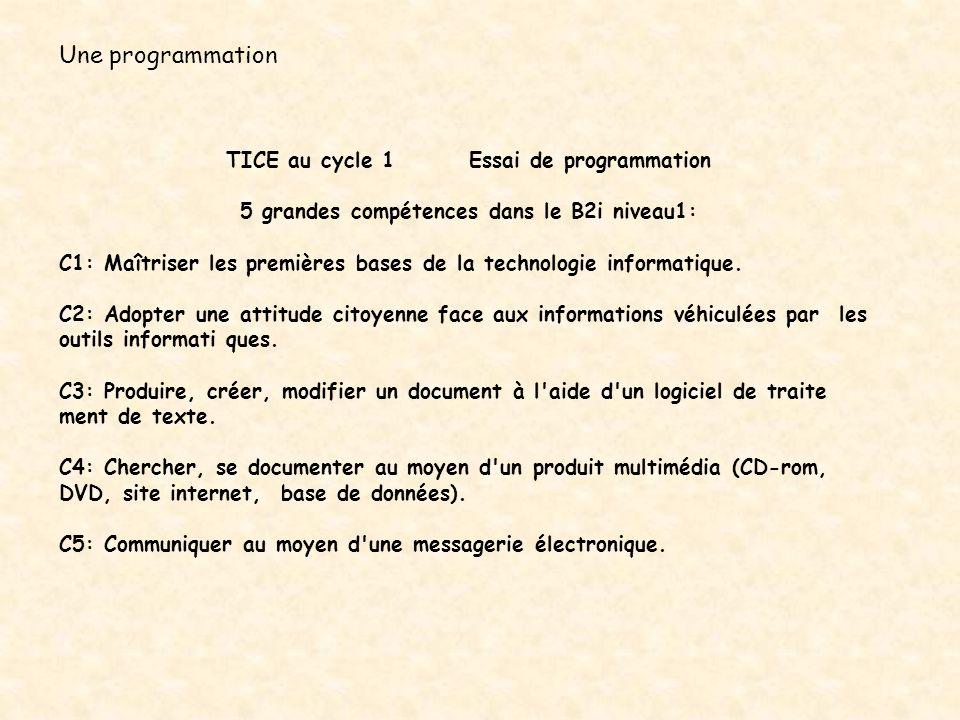 Une programmation TICE au cycle 1 Essai de programmation