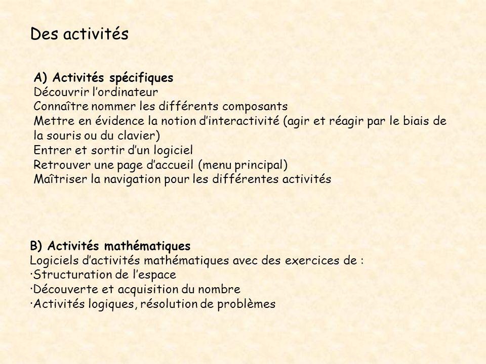Des activités A) Activités spécifiques Découvrir l'ordinateur