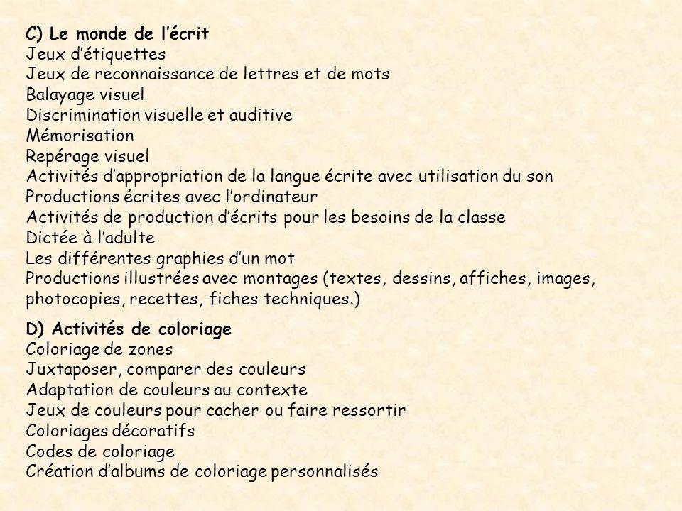 C) Le monde de l'écrit Jeux d'étiquettes. Jeux de reconnaissance de lettres et de mots. Balayage visuel.