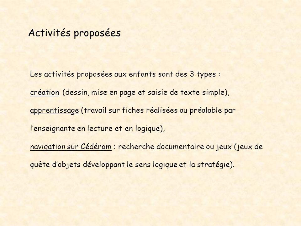 Activités proposées Les activités proposées aux enfants sont des 3 types :