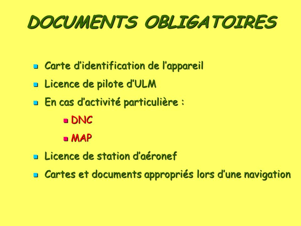 DOCUMENTS OBLIGATOIRES