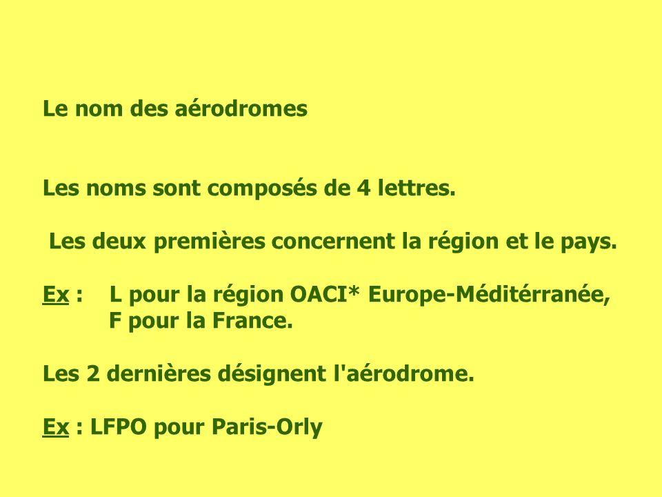 Le nom des aérodromes Les noms sont composés de 4 lettres. Les deux premières concernent la région et le pays.
