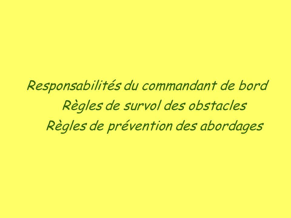 Responsabilités du commandant de bord Règles de survol des obstacles
