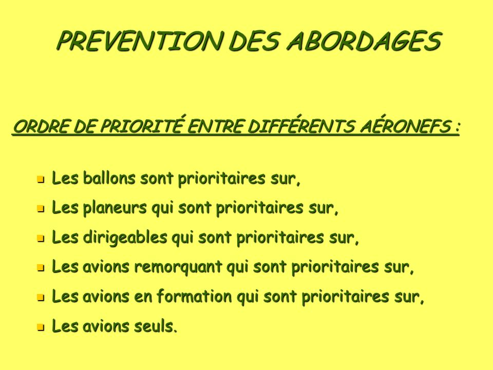 PREVENTION DES ABORDAGES
