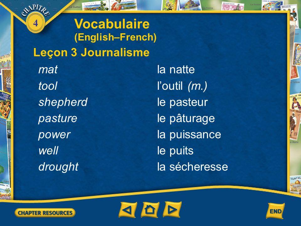 Vocabulaire Leçon 3 Journalisme mat la natte tool l'outil (m.)