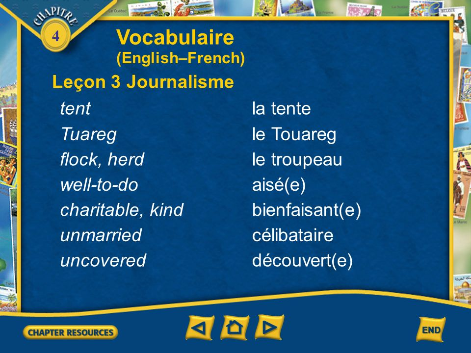 Vocabulaire Leçon 3 Journalisme tent la tente Tuareg le Touareg