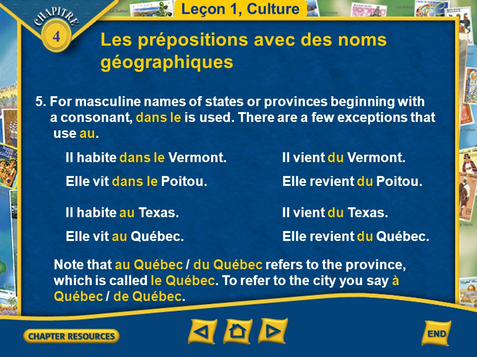 Les prépositions avec des noms géographiques
