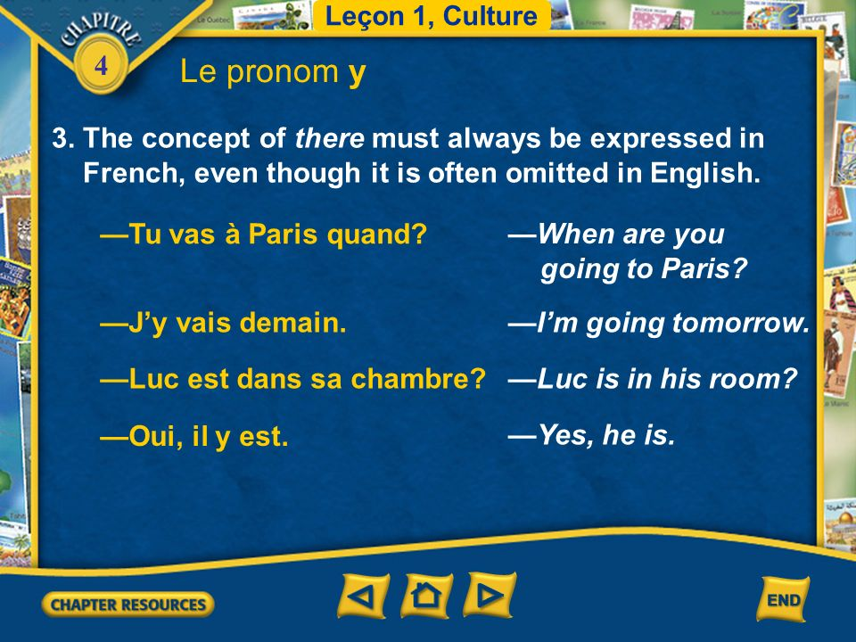 Le pronom y 3. The concept of there must always be expressed in