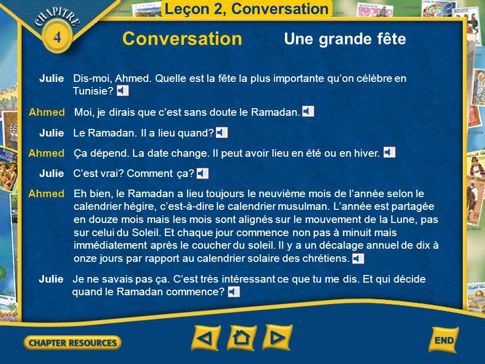 Conversation Une grande fête Leçon 2, Conversation