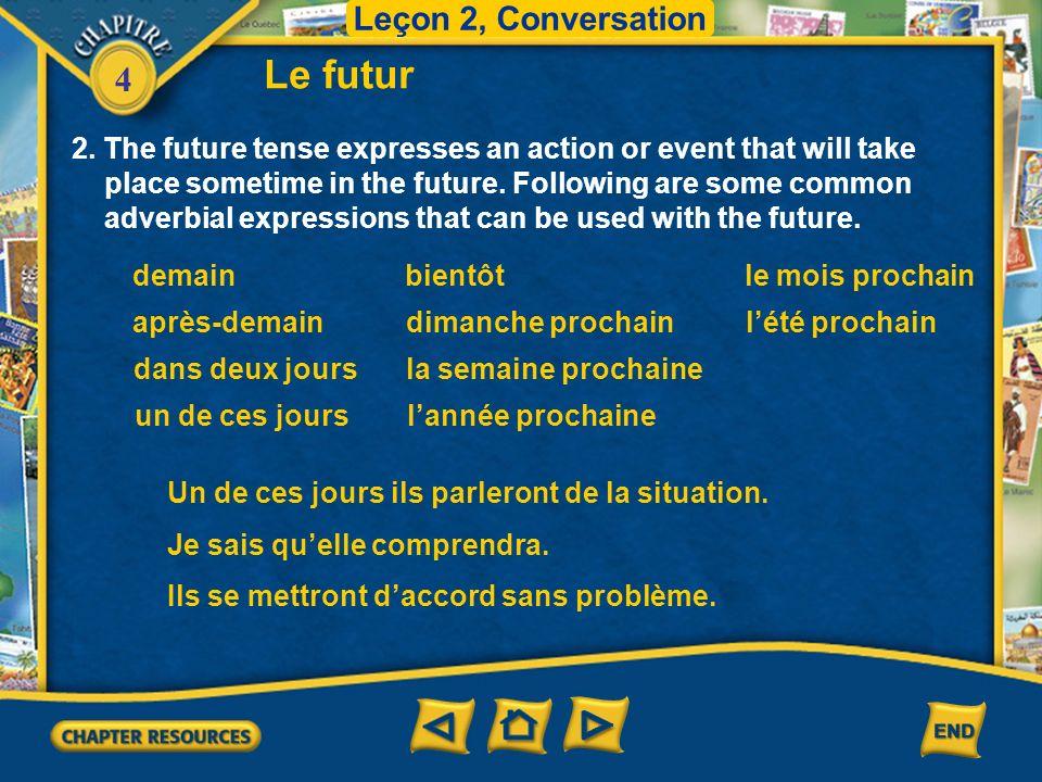 Le futur Leçon 2, Conversation