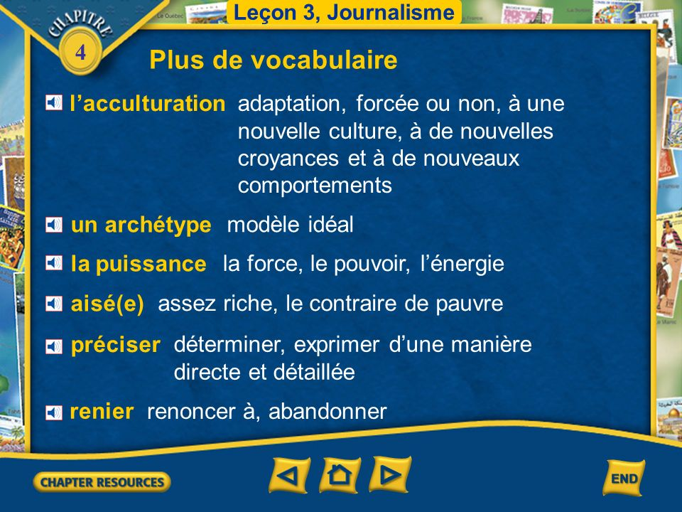 Plus de vocabulaire l'acculturation